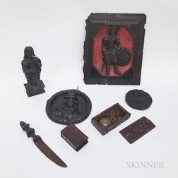 Seven Continental Carved Wood Items