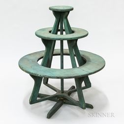 Green-painted Pine Three-tier Rotating Crock Stand