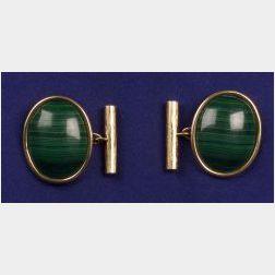 18kt Gold and Malachite Cufflinks, Rene Boivin