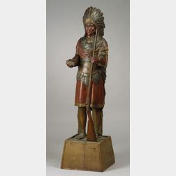 Polychrome Painted Carved Wooden Indian Tobacconist's Figure