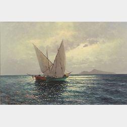 Guido Odierna (Italian, 1913-1991)    Fishing Boats Off Capri, Bay of Naples