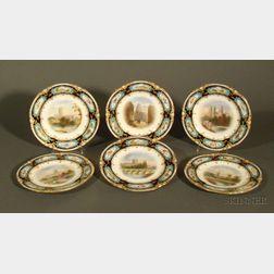 Six George Jones & Sons Handpainted Porcelain Plates
