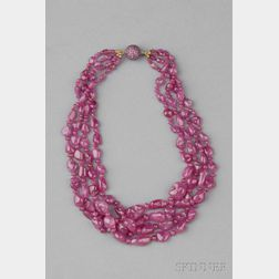 Pink Sapphire Bead Necklace