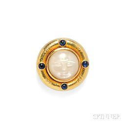 18kt Gold, Carved Moonstone, and Sapphire Pendant/Brooch, Elizabeth Locke