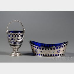 Two English Silver and Cobalt Glass-lined Table Articles