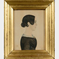 Portrait Miniature of a Young Woman in Profile