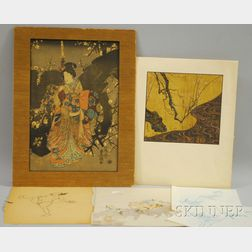 Small Group of Unframed Asian Works on Paper