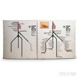 Two MBTA Enameled Green Line Maps