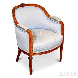 Louis XVI-style Carved and Upholstered Fruitwood Bergere
