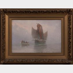 Theodore Victor Carl Valenkamph (1868-1924)      Towing a Vessel in Mist