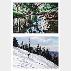 Churchill Ettinger (American, 1903-1984)      Two Works: Skiing