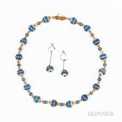 Wedgwood Blue Jasper Bead Necklace and Earrings