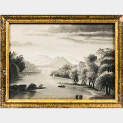 American School, 19th Century      Hudson River Bird's-eye View