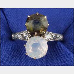Edwardian Gem-set Twin Stone Ring