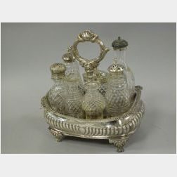 Assembled English Silver Plated and Crystal Cruet Set.