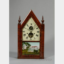 Mahogany Balance Wheel Steeple Clock by Silas B. Terry