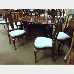 Ethan Allen Queen Anne Style Oval Carved Walnut Dining Table and Six Dining Chairs