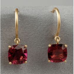 18kt Gold and Rubellite Earpendants