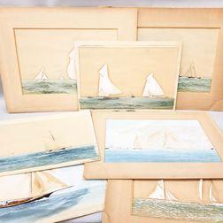 Twelve C. McKnight Smith (American, 19th/20th Century) Gouache Maritime Scenes.