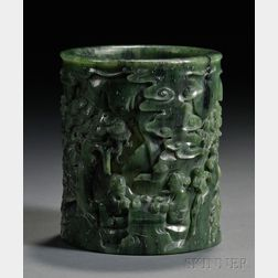 Jade Brush Pot with Stand