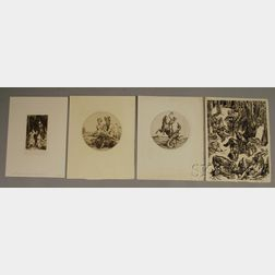 Four Unframed Engravings:      Stephen Frederick Gooden (British, 1892-1955), Death & The Woodsman ,  St. George and the Dragon