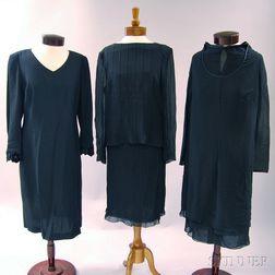 Akris Black Silk Lady's Evening Suit and Two Akris Black Silk Dresses