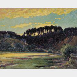 Frederick Mortimer Lamb (American, 1861-1936)      Landscape at Sunset