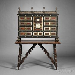 Flemish Baroque Part-ebonized and Shell-mounted Table Cabinet