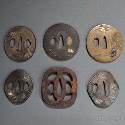 Six Mixed Metal Tsuba