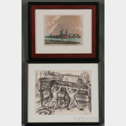 Two Framed Prints:    Waldo Pierce (American, 1884-1970), Two Children at a Piano