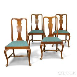 Set of Four Queen Anne-style Mahogany Side Chairs