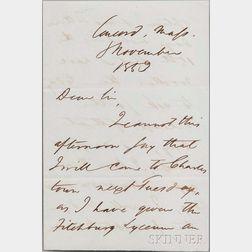 Emerson, Ralph Waldo (1803-1882) Autograph Letter Signed, Concord, 8 November 1853.