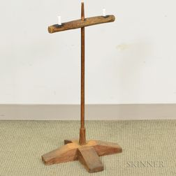 Primitive Chip-carved Pine X-base Two-light Candlestand