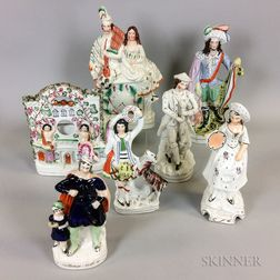 Six Staffordshire Ceramic Figures and a Watch Hutch