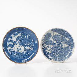 Two Blue and White Porcelain Plates