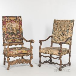 Two Upholstered Walnut Armchairs