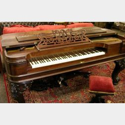 Chickering Rococo Revival Rosewood Veneer and Ebonized Square Piano with Stool.
