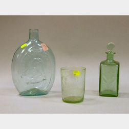 """""""Gen Taylor Never Surrenders-The Father of His Country"""" Aqua Blown Glass Flask"""