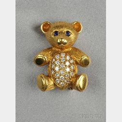 18kt Gold, Diamond, and Sapphire Teddy Bear Brooch