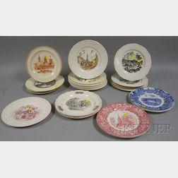 Twenty-seven Assorted Wedgwood Transfer U.S. State Ceramic Plates
