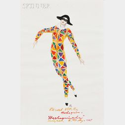 Rouben Ter-Arutunian (American, 1920-1992)      Costume Design for Edward Villella in Harlequinade