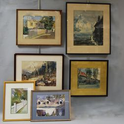 American School, 19th/20th Century      Six Framed Watercolors by Various Artists.
