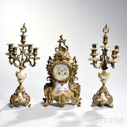 Three-piece Louis XV-style Cast Gilt-metal and Ceramic Garniture