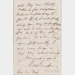 Emerson, Ralph Waldo (1803-1882) Autograph Letter Signed, Concord, 22 October 1858.
