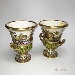 Pair of Derby Porcelain Landscape Vases