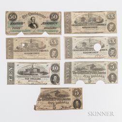 Seven 1863 Confederate Notes