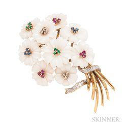 14kt Gold, Carved Coral, and Gem-set Flower Brooch, Trio