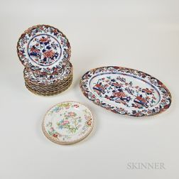 Copeland Imari-palette Platter and Ten Plates and Three Minton Plates