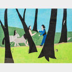 Primitive Gouache on Paper Work Depicting Noah