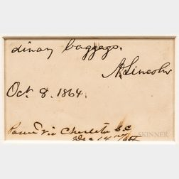 Lincoln, Abraham (1809-1865) Autograph Note Signed, 8 October 1864.